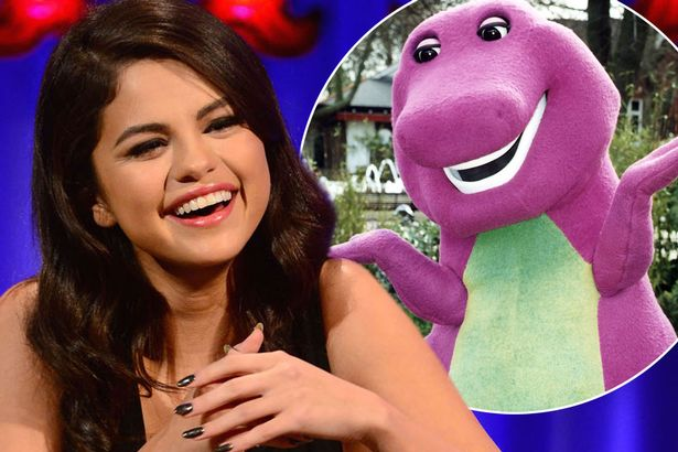 "Selena Gomez's  ""crush""  on Barney the purple dinosaur"